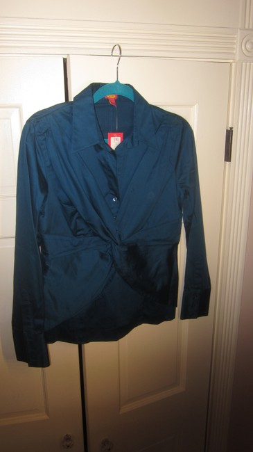 Eyeshirts Draped Blouse Button Down Shirt Teal