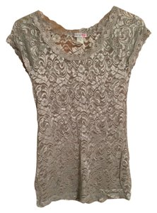 Body Central Lace Bodycon Top Silver