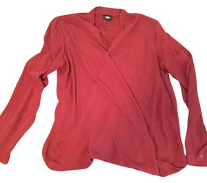 Mossimo Supply Co. Polyester Comfortable Sheer Wrap Elegant Top Wine