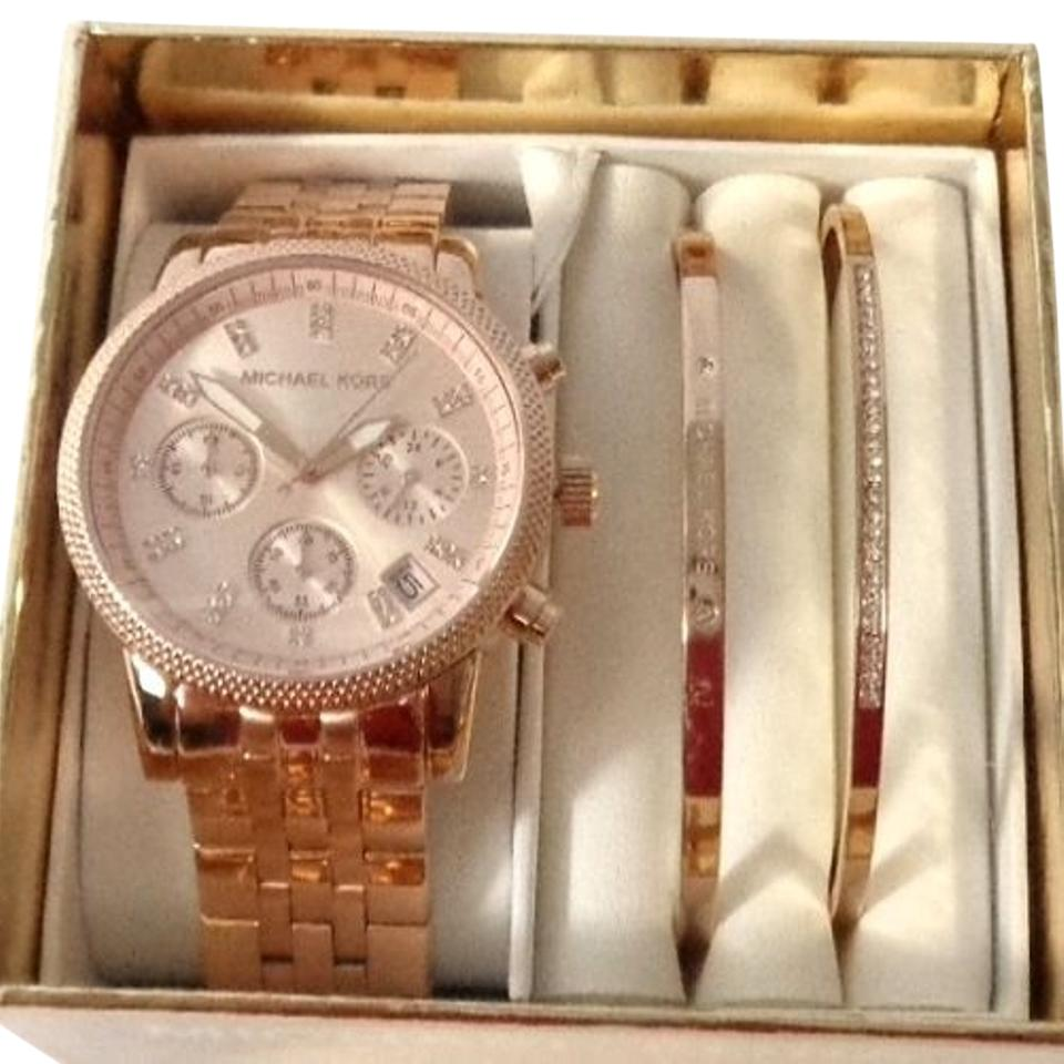 Michael Kors Mk3617w Ritz Rose Gold Tone Watch Two Bracelets