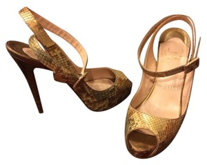Christian Louboutin Snake Skin Sandals Heels Bianca Very Prive So Kate Python Heels Gold Green Nude Pumps