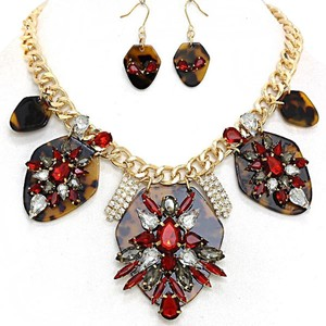 Rhinestone Crystal Accent Elaborate Red Orchid Statement Fashion Necklace and Earring