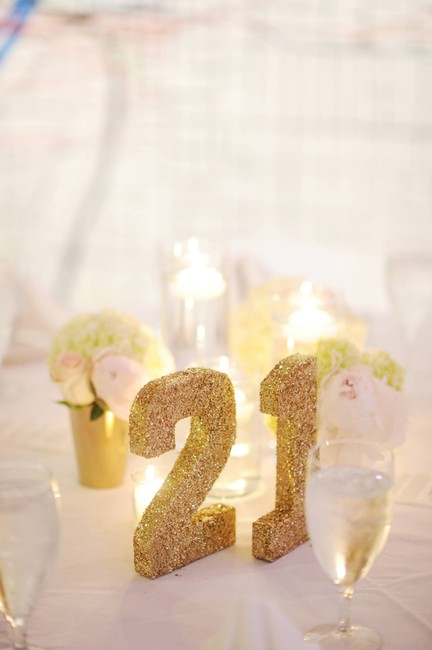 Item - Gold Glitter Table Numbers Centerpiece
