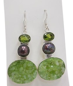 Peacock Pearl and Green Druzy in 925 Sterling Silver w Free Shipping
