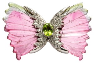Watermelon Tourmaline Diamond Gold Butterfly Brooch Pin