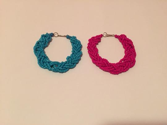 Peruvian handmade Two Cute Bracelets In Aqua And Pink Image 1