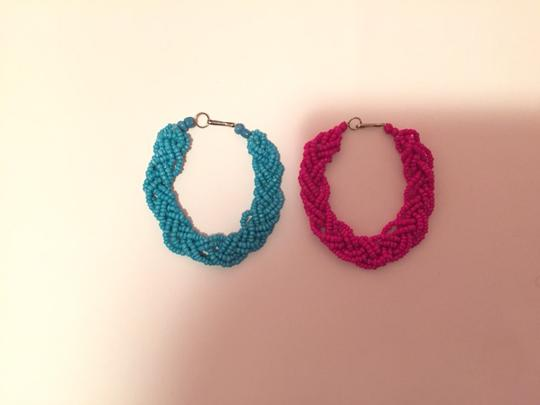 Peruvian handmade Two Cute Bracelets In Aqua And Pink Image 2
