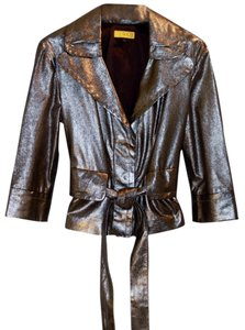 St. John Vintage Silver / Purple Metalic Leather Jacket