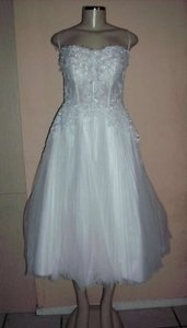 Alfred Angelo White/Silver Satin 2238slf Formal Wedding Dress Size 8 (M)