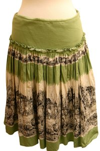 Anthropologie 100% Odille Vintage Design Skirt Green