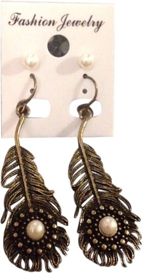 Other Bronze Peacock Feather & Pearl Stud Earrings 2-Pack