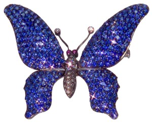 Sapphire Diamond Gold Tremblant Butterfly Pin Brooch