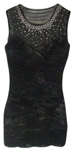 BCBGMAXAZRIA Floral Sequin Sheer Bodycon Dress