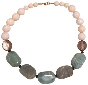Anthropologie Blue-Gray and white Beaded Necklace