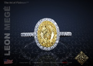 Leon Megé Galaxy(tm) Yellow Diamond Halo Ring R7117