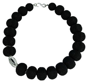 Black Beaded Beads and Sterling Silver Necklace
