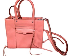 Rebecca Minkoff Side Zip Mab Crossbody Leather Tote in CORAL
