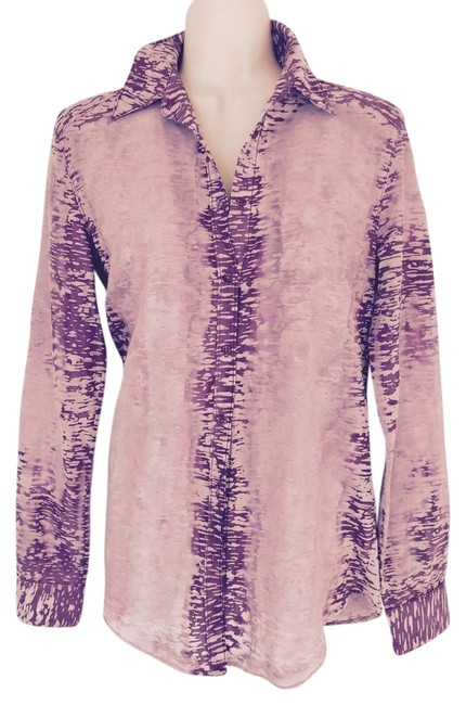 Item - Purple Marble Button-down Top Size 2 (XS)