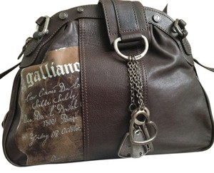 John Galliano Designer Leather Edgy Satchel in Dark chocolate