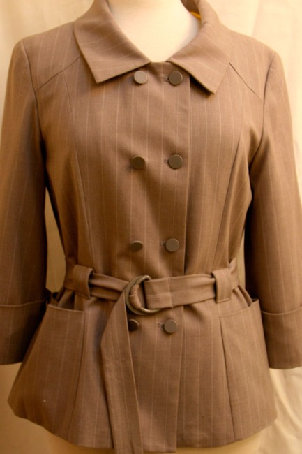 Tulle Breasted Classic Cut With Belt Neutral Beige Jacket