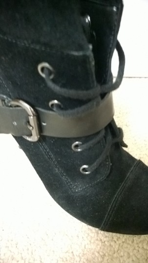 Guess Lace-up Buckle Black Suede Boots
