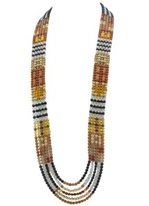 Long Multicolored Glass Beads Patchwork Runway Necklace