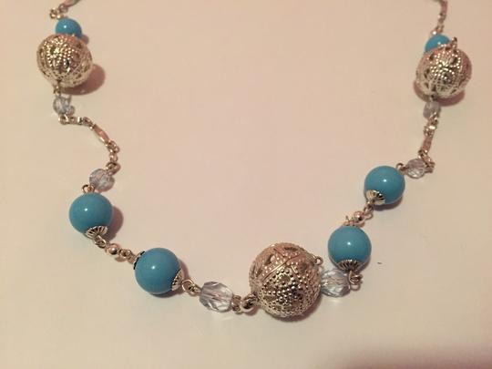 Other Silver And Baby Blue Long Necklace