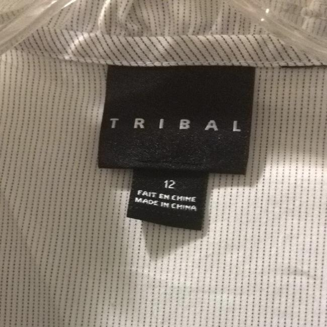 Tribal Button Down Shirt White With Blue Pinstripes