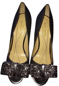 Kate Spade Bow Peep-toe Sequin Gray Pumps