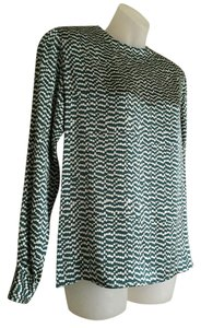 Salvatore Ferragamo Silk Top Dark Green and white