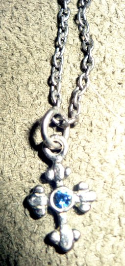 Vintage Estate Jewelry Vintage Gothic Styled Cross Necklace with Blue Gemstone Image 5