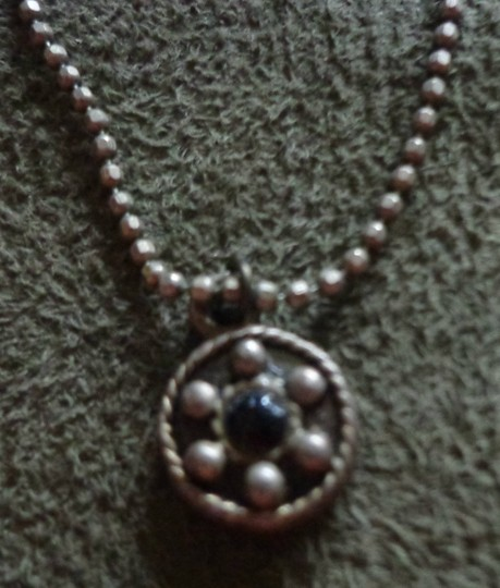 Vintage Estate Jewelry Vintage Estate Jewelry: Ball Chain Necklace With Round Gothic Style Pendant
