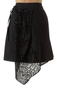 Anthropologie Lace Trim Black Cotton Mini Skirt