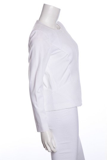 Lafayette 148 New York Textured Panel Zip White Jacket well-wreapped