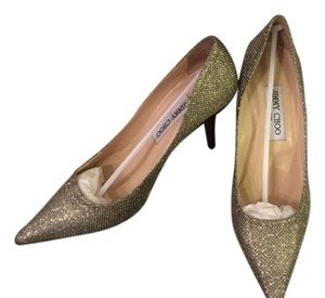 Jimmy Choo Gold Lame Glitter Pumps
