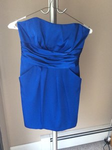 David's Bridal Royal Blue Royal Blue Short Charmeuse Dress With Ruched Waist And Pocket Dress