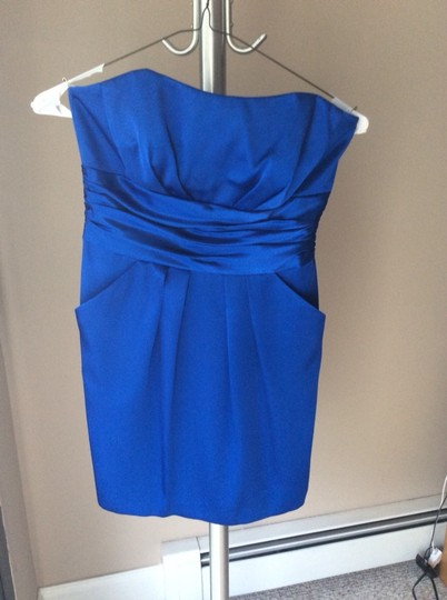 David's Bridal Royal Blue Satin Short Charmeuse Ruched Waist and Pocket Sexy Bridesmaid/Mob Dress Size 8 (M)