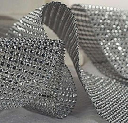Silver 5 Yards Of Bling Diamond Mesh Hot Reception Decoration