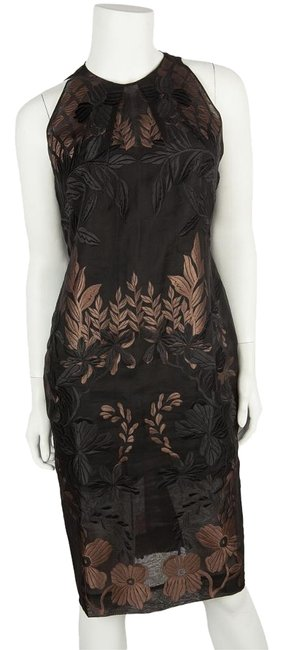 Item - Black and Blush Floral Embroidered High Neck Sheer Overlay Silk Knee Length Cocktail Dress Size 8 (M)