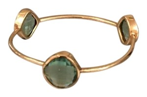 Other Blue/Green Gold Tone 3 Stone Bangle Bracelet