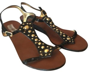Steve Madden Gold Studded Black Sandals