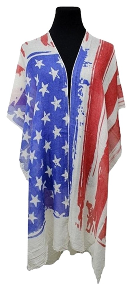 e046e2ae1 Red White Blue American Flag Boho Chic Kimono Robe Wrap Cover Up Poncho/Cape