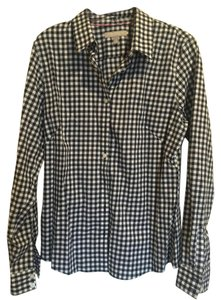 J.Crew Gigham And White Button Down Shirt Navy