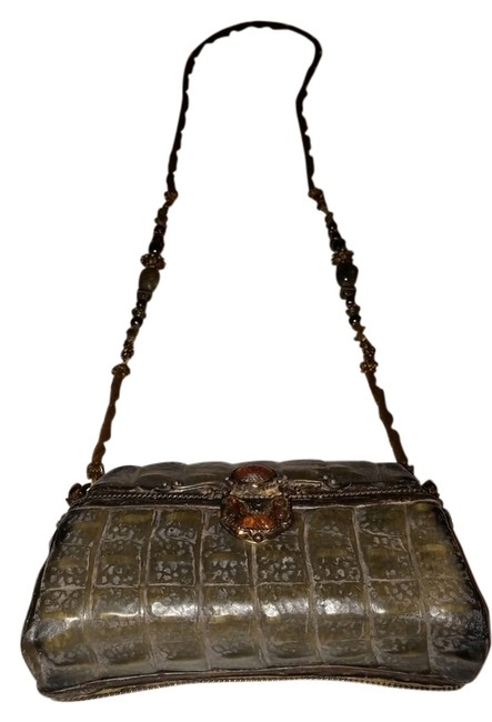 Item - Green and Brown Hard Shell Cross Body Bag
