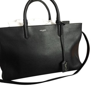 Saint Laurent Leather Ysl Tote in black, silver hardware