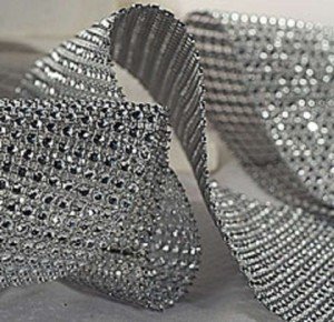 Silver 1 Yard (3ft) Of Bling Diamond Mesh Super Sparky Reception Decoration