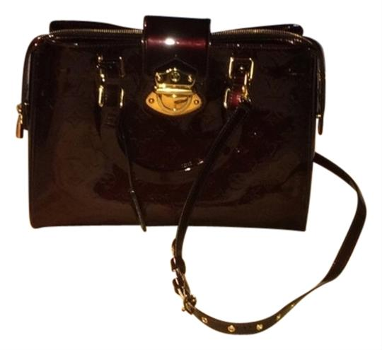 Louis Vuitton Shiny Embossed Calf Leather Long Strap To Wear Cross Body Or As Satchel in Burgandy