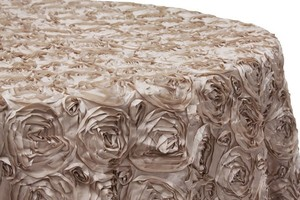 Satin Champagne Rosette Table Cloth Round