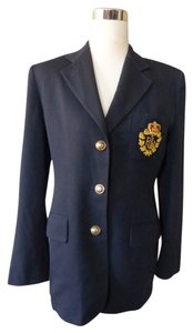 Ralph Lauren Gold Buttons Boyfriend Jacket Blue Blazer