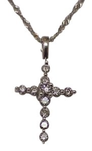 Victorian Unique 14k White gold .50carats Diamond Cross pendant , 1880s